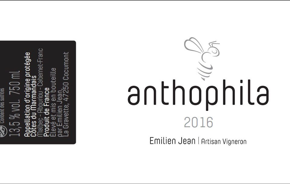 Domaine Emilien Jean en AOC Côtes du Marmandais - Cuvée Anthophila rouge 2016